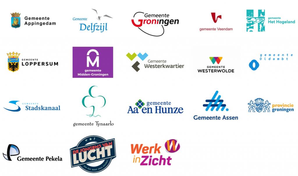 Logo's gemeenten, provincie Groningen, de Jongens van Lucht en Werk in Zicht
